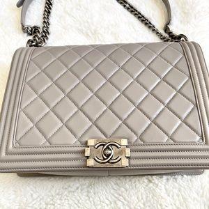 Large Boy Chanel Grey